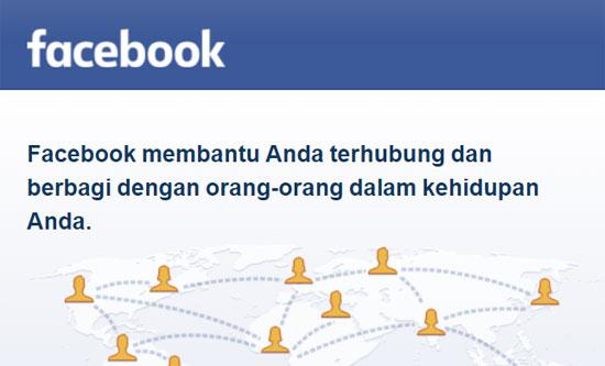 Halaman depan Facebook Indonesia. Gambar dari Internet