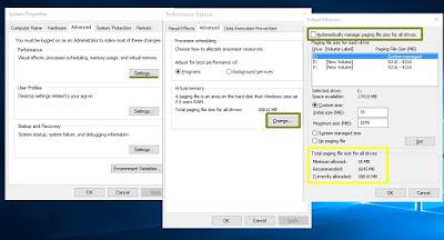 Mengatur Memori Virtual untuk mengatasi booting Windows 10 lambat