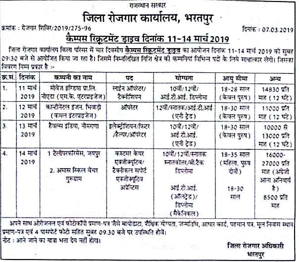 रोजगार  मेला भरतपुर राजस्थान, कैंपस रिक्यूरमेंट ड्राइव दिनाक 11-14 मार्च 2019