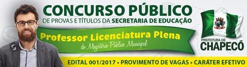 Concurso Prefeitura de Chapecó 2018 Professor