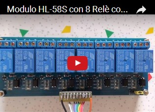 Modulo HL-58S con 8 Relè controllati da Arduino UNO R3