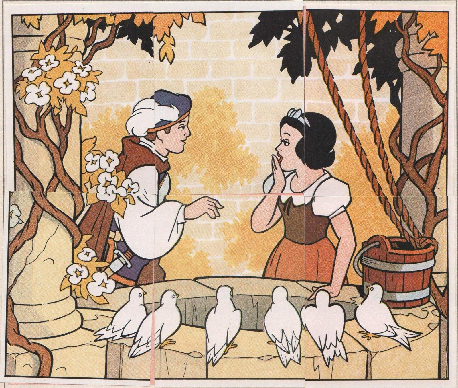 filmic light snow white archive panini snow white stickers nos 77 80 animals lead snow white to cottage