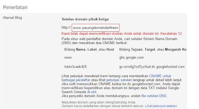 Memasukan domain ke blogger