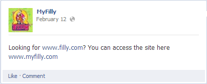 Myfilly facebook page screenshot