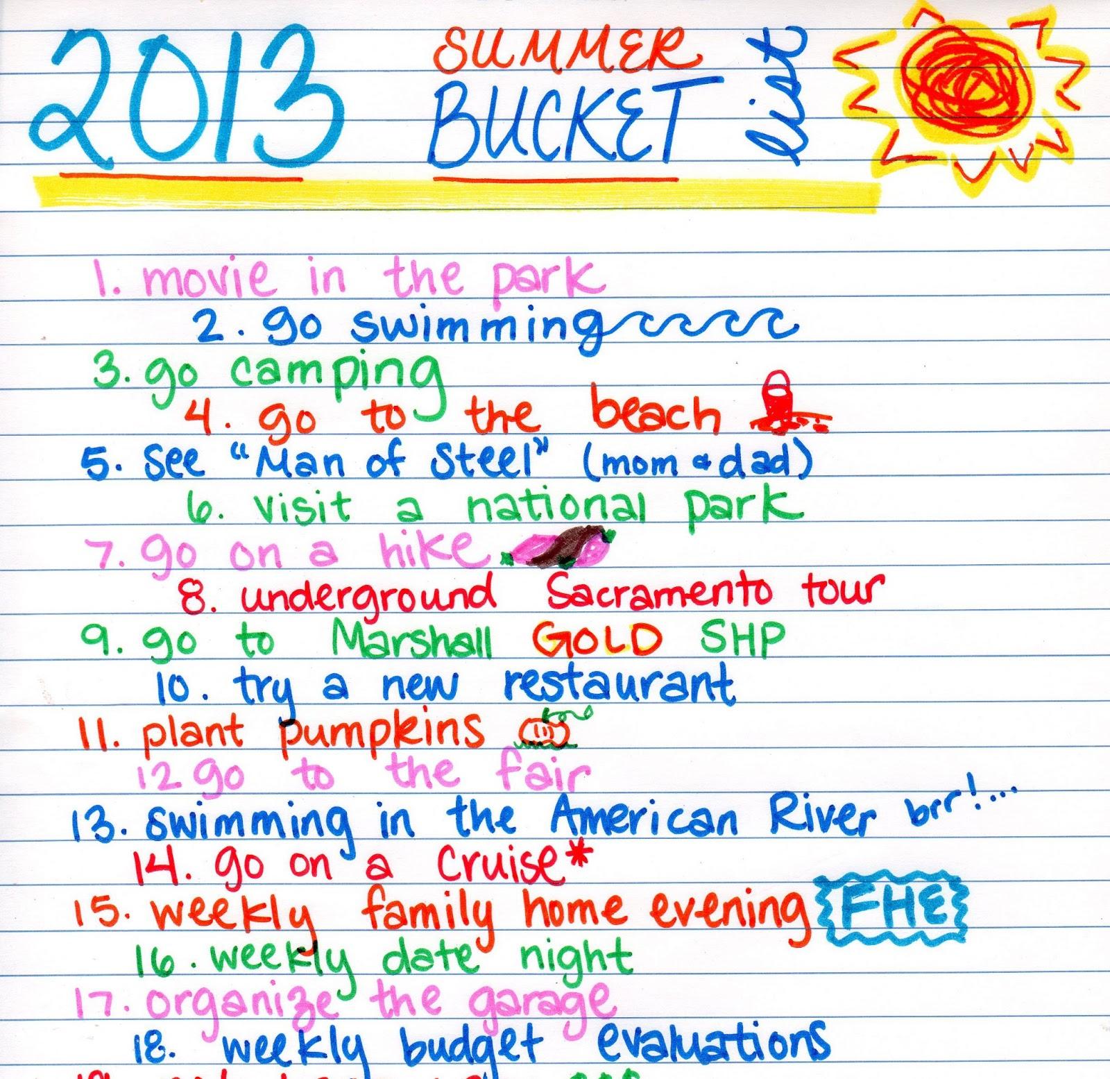 how to make a summer bucket list