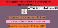 Telangana Public Service Commission Recruitment 2017– 152 Junior Lecturers