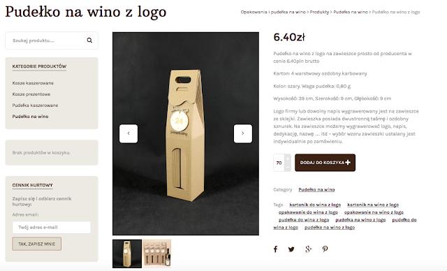 Pudełko na wino z logo na zawieszce