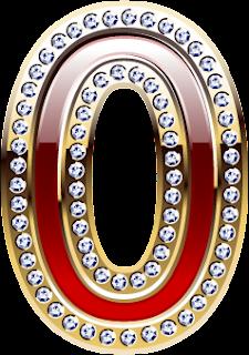 Abecedario Rojo con Orilla Dorada y Brillantes. Red Alphabet with Gold and Diamonds.