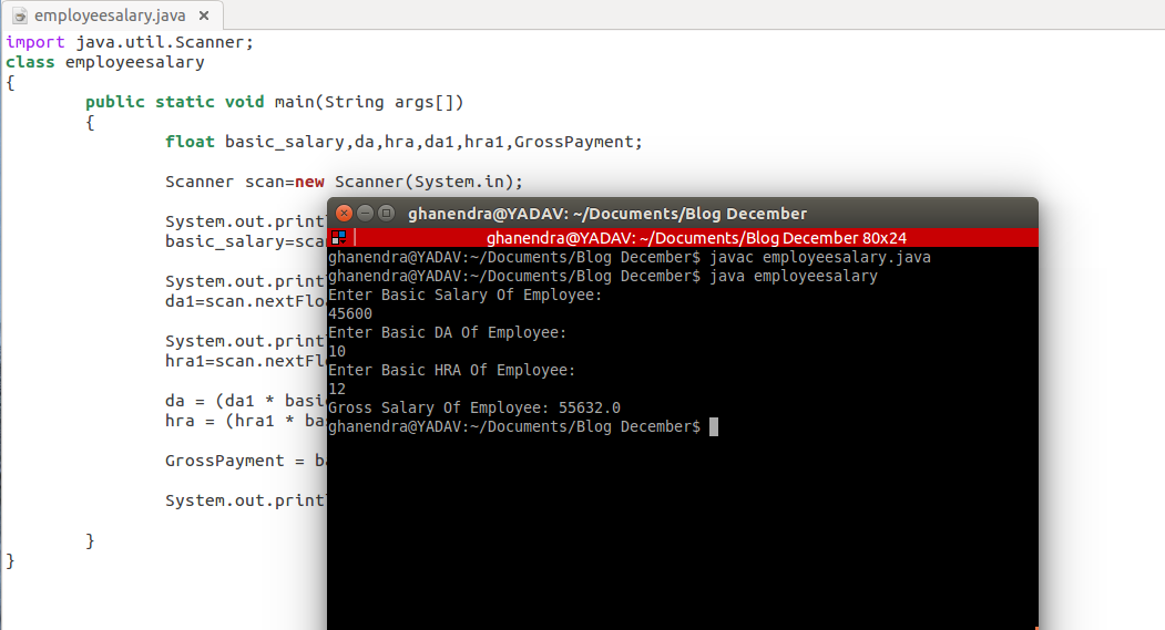 Java Program For Find The Gross Salary of an Employee