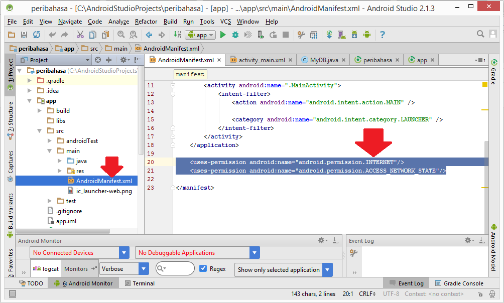 Add internet permission in AndroidManifest.xml in android studio