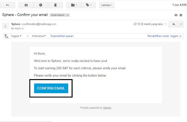 konfirmasi email dari sphere