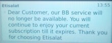 Etisalat to stop blackberry bb services
