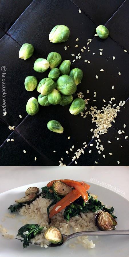 Arroz integral con espinacas, coles de bruselas y zanahorias glaseadas