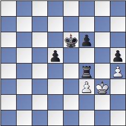 Partida de ajedrez Korchnoi vs. Kasparian (posición después de 68... Txf4!)