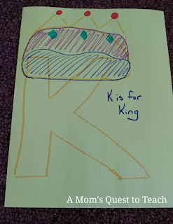 K is for King craft based upon Bible ABC Book