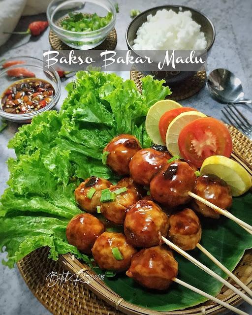 bakso bakar, madu, bakar-bakar, saus bbq, bakaran indonesia
