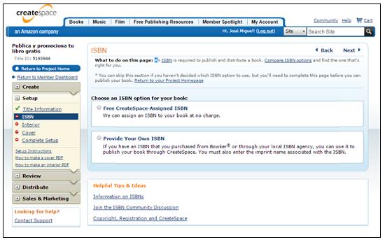Sección del ISBN en Createspace