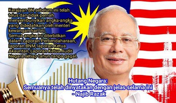 Hutang Negara: Semuanya telah dinyatakan dengan jelas selama ini - Najib Razak