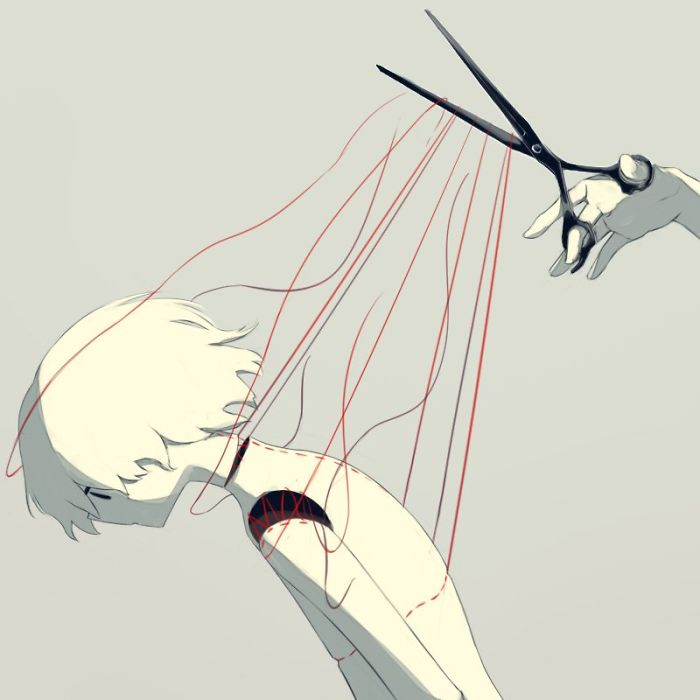 Merasa seperti seseorang memotong tali yang menahan.