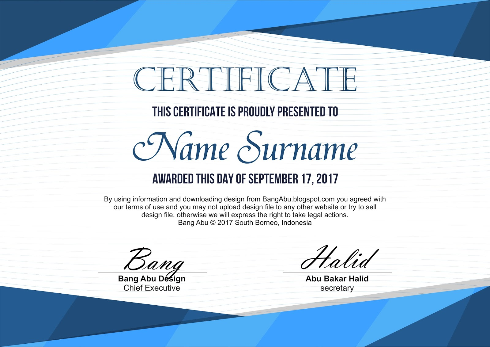 Elegant Certificate Background Geometric Blue Bang Abu