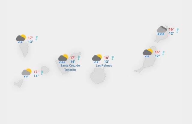lluvia en canarias para el jueves 18 y viernes 19 de febrero