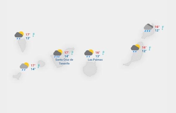 la lluvia llegan a Canarias el jueves 18 febrero