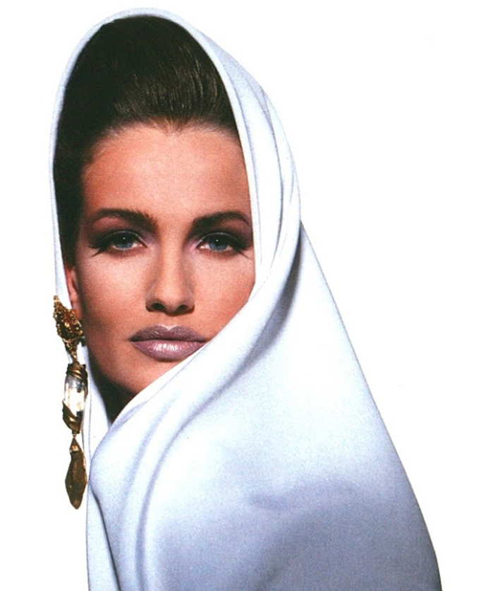 Karen Mulder wearing Yves Saint Laurent in Vogue UK 1991 via www.fashionedbylove.co.uk