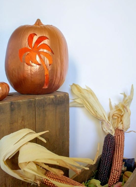 Palm Tree Halloween Pumpkin