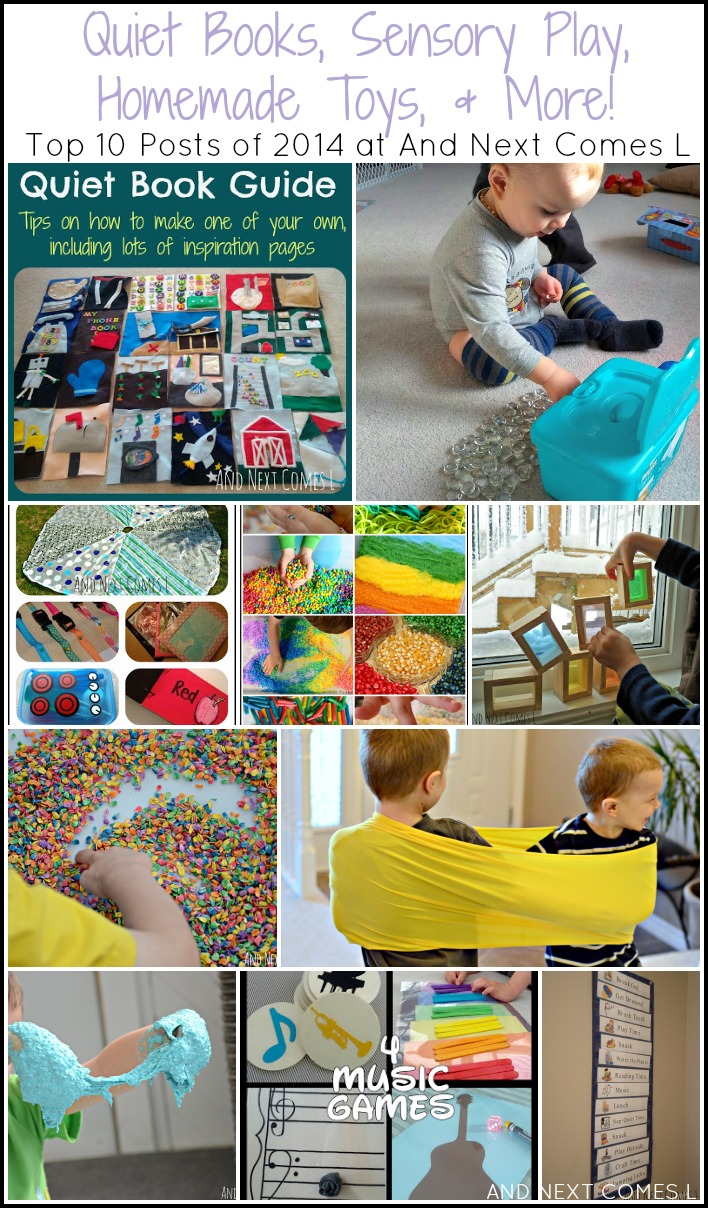 Quiet books, sensory play ideas, and homemade toys for kids {Top 10 Posts of 2014 at And Next Comes L}
