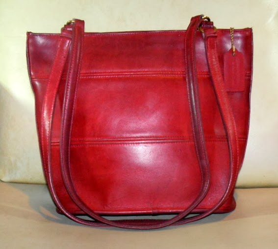 RARE Red Vintage Leather Tote Bag