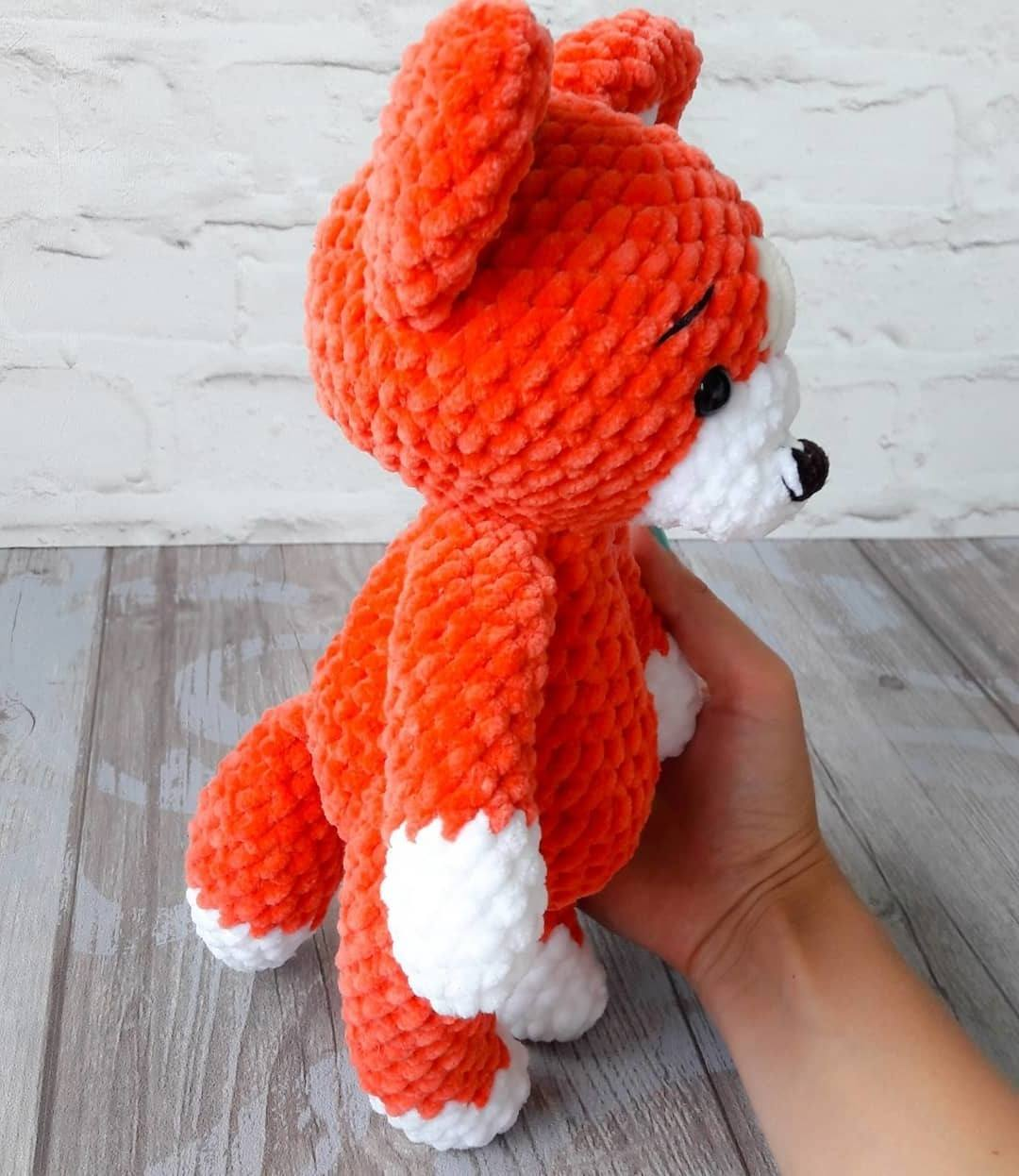 Crochet fox amigurumi toy