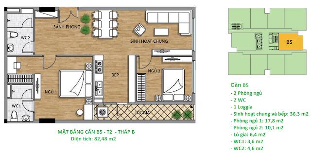 Căn hộ B5 diện tích 82,48 m2 tầng 2 Valencia Garden