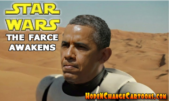obama, obama jokes, political, humor, cartoon, conservative, hope n' change, hope and change, stilton jarlsberg, star wars, force awakens, teaser, trailer