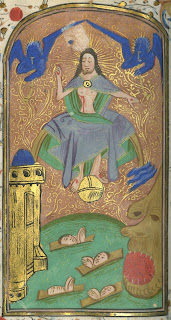 Book of hours hand colored illustration with gold leaf. Depicts Jesus Christ in the sky surrounded by two angels in blue, hovering above a group of the dead. A gold tower is to the left and a hell mouth is to the right.