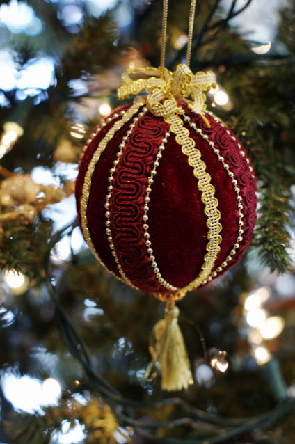 Burgundy and Gold Ribbon-Trimmed Ornament Image