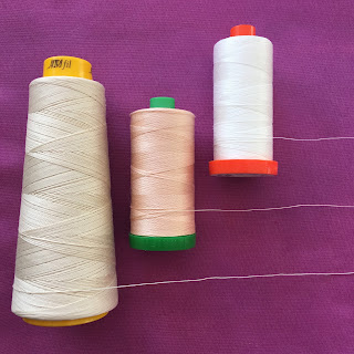 Aurifil Forty3 thread 40 weight 50 weight thread comparison swatch