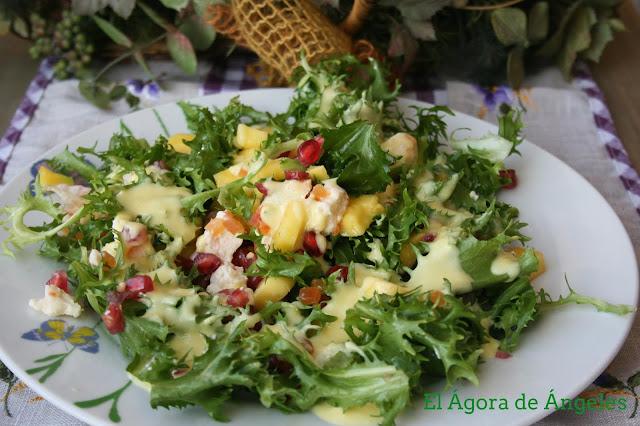 escarola, ensalada de escarola,vinagreta de mango