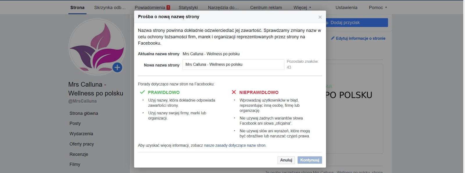 jak zmienić nazwę strony na Facebooku i Intagramie