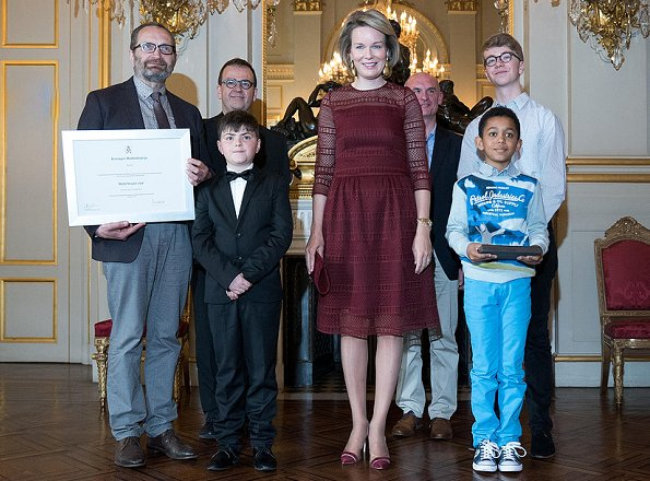 Queen Mathilde presented the 'Queen Mathilde Award' 2017 in a ceremony held at the Royal Palace. Queen wore By Malina Lace dress