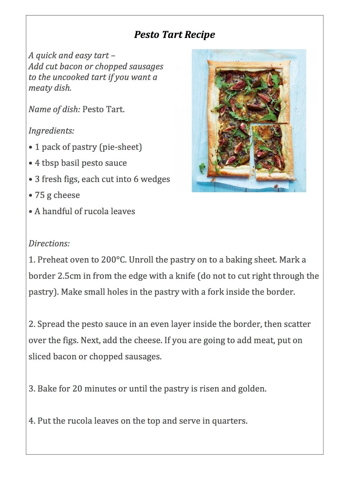 First Year English Reading 3 Recipe