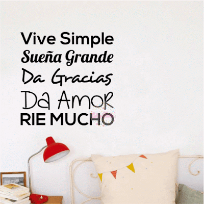 vinilo decorativo frase vive simple