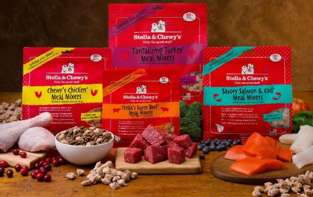 Stella and Chewy's Meal Mixers raw pet food comes in four flavors