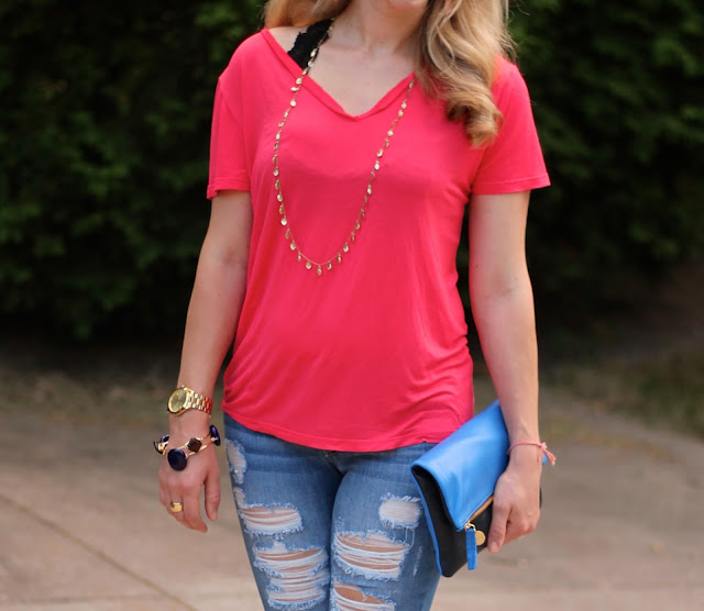 coral piko top, distressed jeans, wedge, clare v. clutch