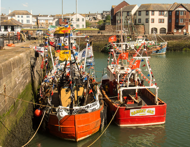 Photo of some of the trawlers decorated ready for the race