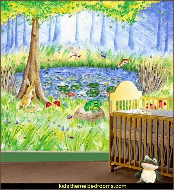Secret Garden frog pond wall mural frog theme bedrooms - frog theme decor - frog themed gifts - froggy wallpaper murals - frog wall decals - frogs in a pond wall decor -  Frog Prince decor
