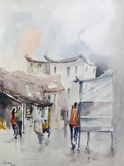 """The Vendor"" Watercolor on Paper"
