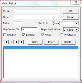 Membuat Menu Utama, Menu Editor, Visual Basic 6.0