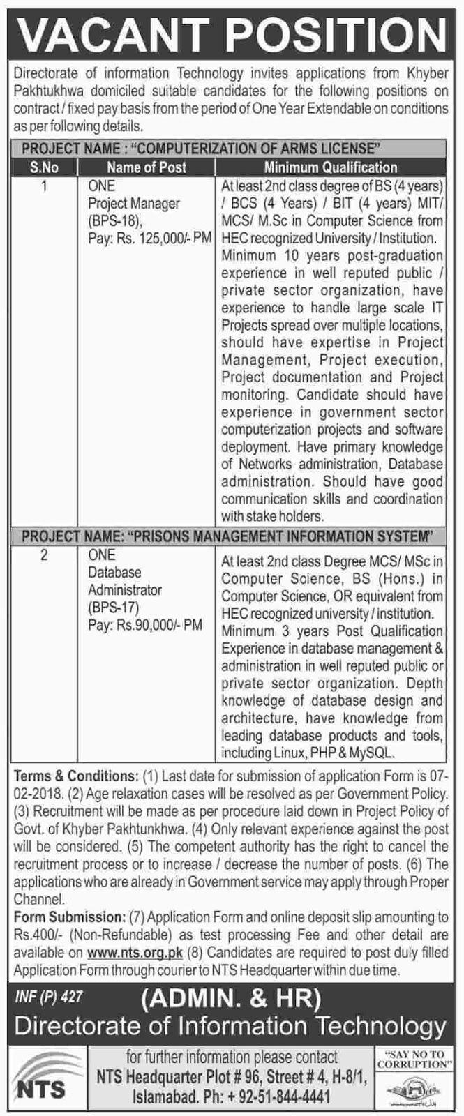 New NTS Jobs in KPK, Khyber Pakhtunkhwa Information Technology Board