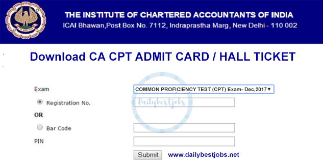 CA CPT Admit Card