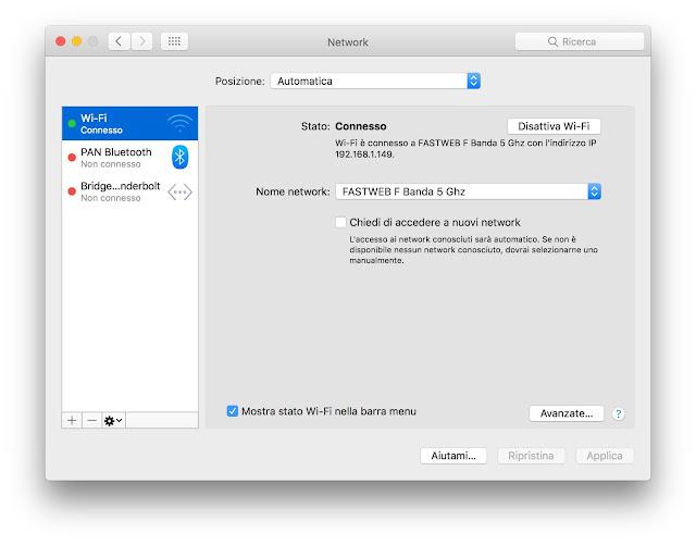 impostazioni reti wi-fi mac